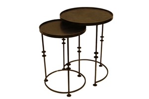 DECO INDUSTRIAL IRON CIRCULAR NESTING TABLES