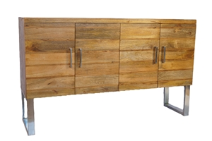 DECO INDUSTRIAL PLANK SIDEBOARD WITH STAINLESS ACCENTS
