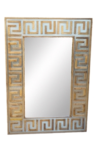 ART DECO GREEK KEY MIRROR WITH ANTIQUED BRASS CLADDING