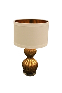GOLDEN GOURD LAMP W/ GOLD LINED SHADE