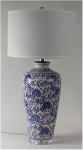 Antique Crackle Blue & White Paisley Table Lamp