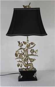 BIRDS & BRANCHES SILVER TABLE LAMP