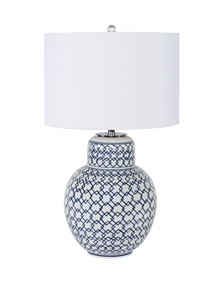 Blue & White Diamond Ginger Jar Table Lamp