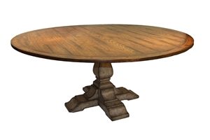 JACOBEAN 6FT ROUND DINING TABLE-RUSTIC GREY