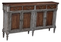 4 DR CONSOLE TABLE-RUSTIC GREY