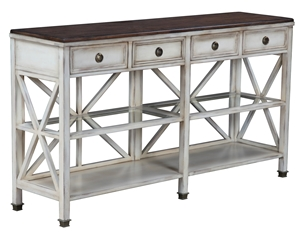 X-SIDE CONSOLE TABLE-ANTIQUE WHITE