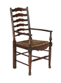 LADDER BACK ARM CHAIR - DARK OAK