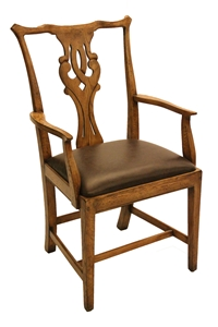 ARM CHAIR-LEATHER SEAT-HONEY OAK