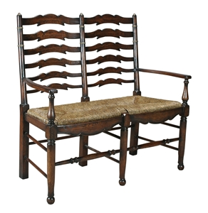 LADDER BACK SETTEE - DARK OAK