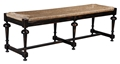 OCCASIONAL TABLE BENCH WITH WOVEN RUSH SEAT - BLACK