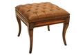 OTTOMAN-COGNAC LEATHER-BROWN BASE