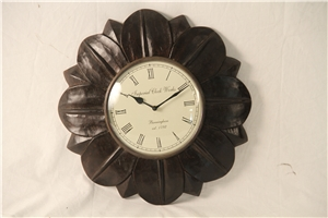WOODEN FLORAL CLOCK - SMALL