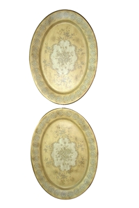 PAIR OF OVAL FLORAL PLAQUES