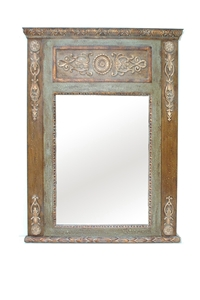 CARVED MIRROR ANTIQUE BROWN & GREEN