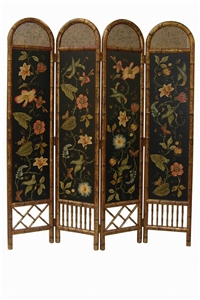 4-PANEL BLACK BAMBOO & CANE SCREEN