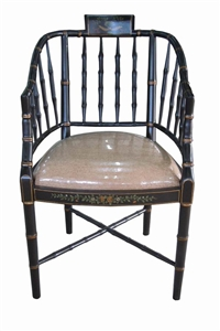 BLACK/GOLD CHAIR WITH CUSHION