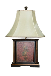 WOODEN LAMP WITH PAINTED ANGEL & SQUARE BASE
