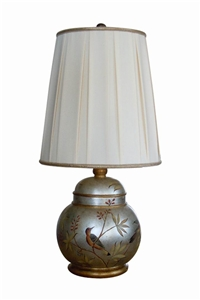 ROUND SILVERLEAF BALL LAMP WITH BIRDS