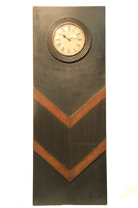 "LONG WOODEN CLOCK WITH ""V"" INLAID BANDS"