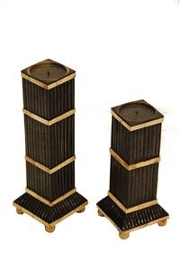 SET OF 2 CANDLE HOLDERS WITH  INLAY