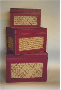 SET OF 3 LEATHER BOXES