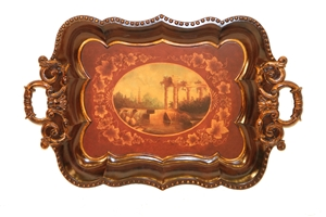 METAL TRELLIS TRAY WITH HANDPAINTED SCENE