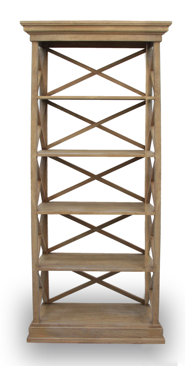 Cross Back Open Bookcase Natural