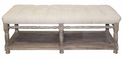 French Tufted 6 Legged Bench