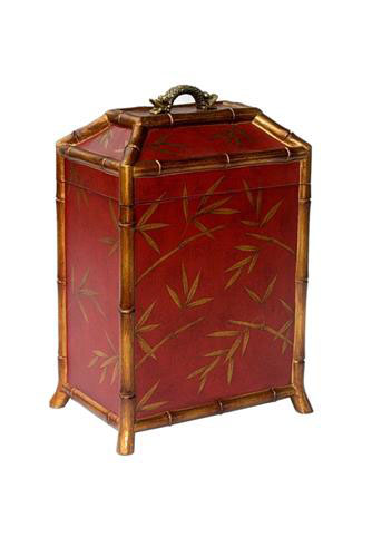 TALL BOX - RED WITH BAMBOO LEAVES