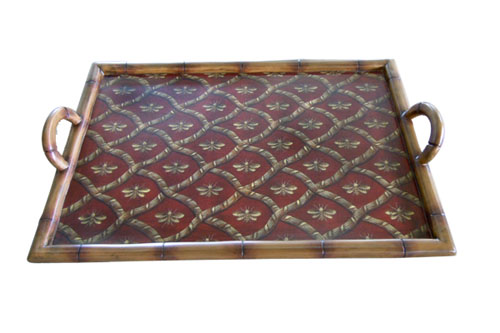 TRAY WITH BAMBOO EDGE AND BEES