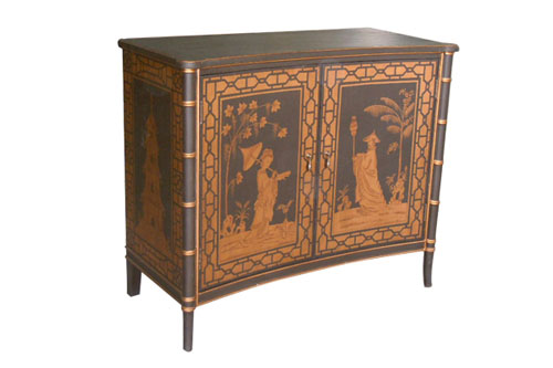 2 DOOR CHEST WITH CHINOISERIE DECOR