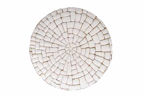 MOSAIC OPAQUE SEA GLASS CHARGER WITH METAL STAND