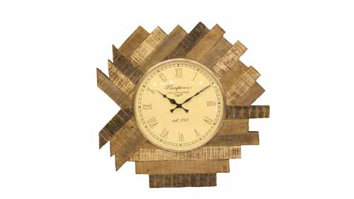 CHARLOTTE RECLAIMED PLANK WOOD CLOCK