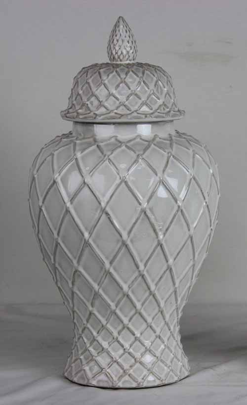 Ivory Lattice Ginger Jar Small