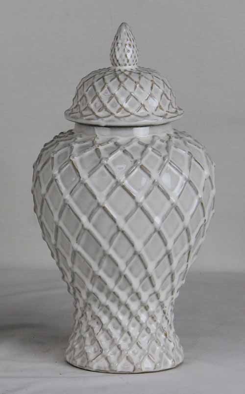 Ivory Lattice Ginger Jar Large