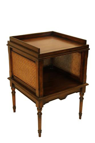 CANE END TABLE - WORN PECAN