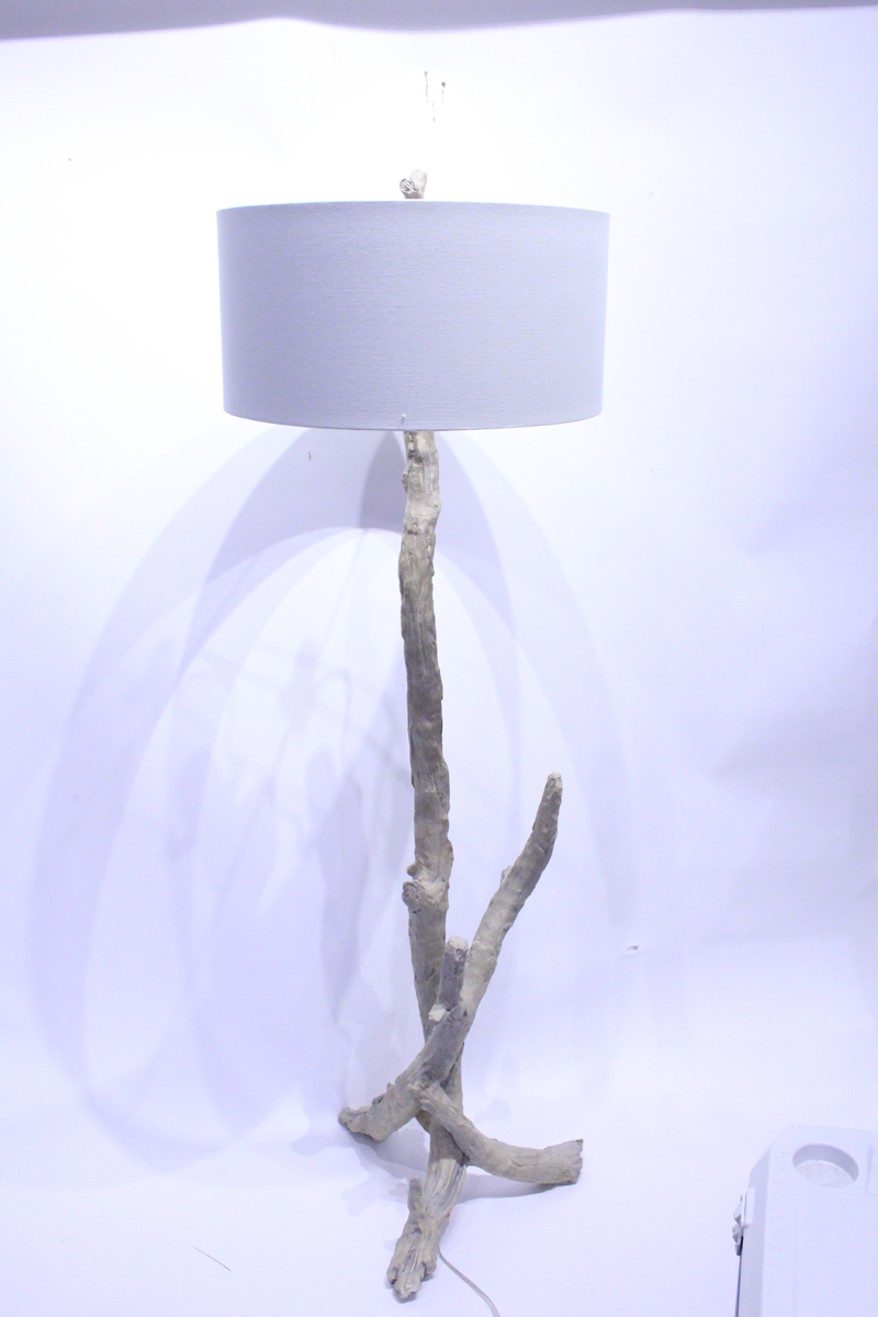 driftwood floor and lamp lantern