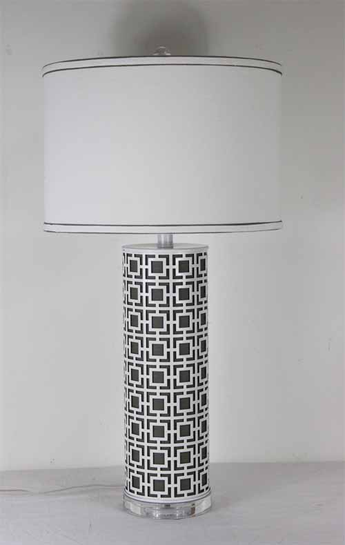 charcoal metal square deco table lamp