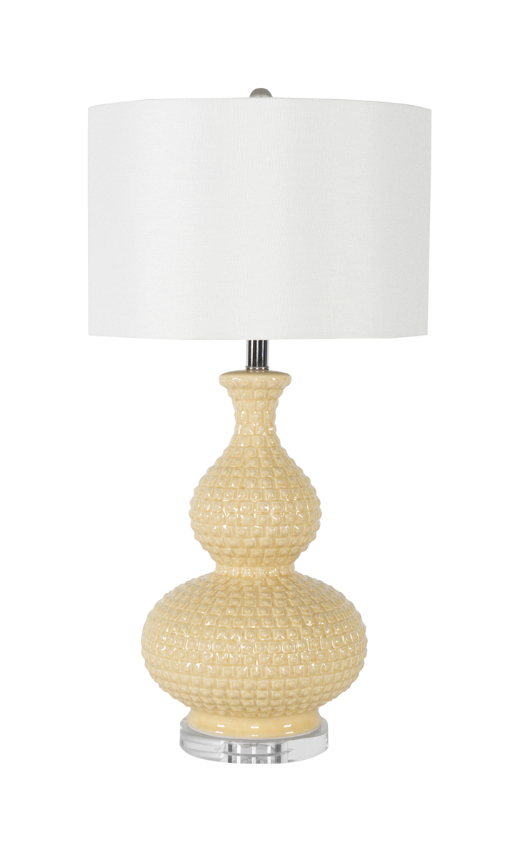 Cream beaded genie bottle table lamp geotapseo Images