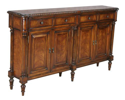 NARROW 4-DOOR 4-DRAWER CONSOLE CABINET