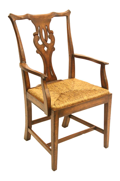 Arm Chair Rush Seat Oak