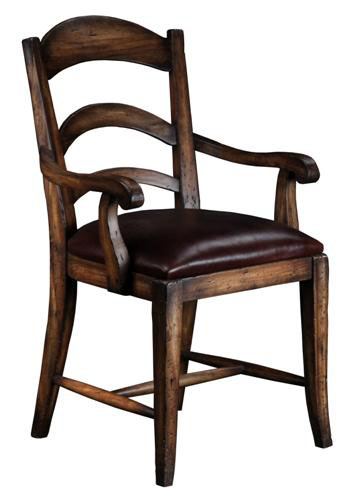 Pastoral Leather Arm Chair Walnut