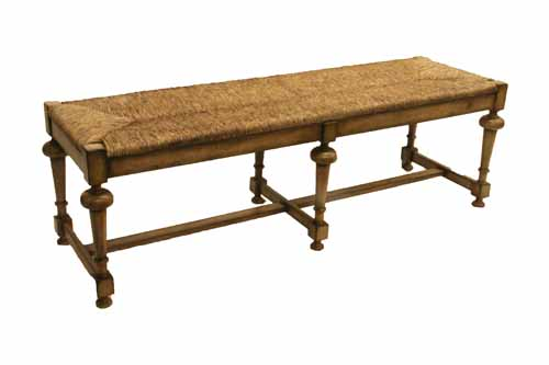 Occasional Table Bench With Woven Rush Seat Rustic Grey