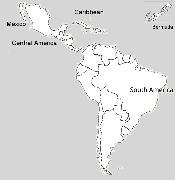 Mexicao, Caribbean, Central and South America