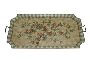 GREEN & CREAM BIRD TRAY