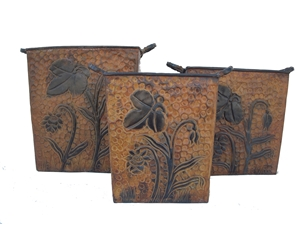 SET OF 3 METAL FLORAL PLANTERS