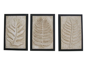 SET OF 3 WOODEN LEAF WALL PLAQUES