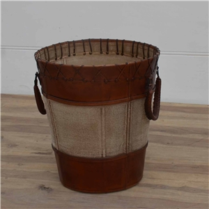 Old Havana Leather Canvas Basket - Large