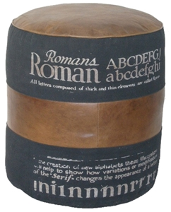BLACK & TAN ROMAN POUF STOOL