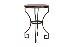 SMALL GREEK KEY ACCENT TABLE WITH GRANITE TOP